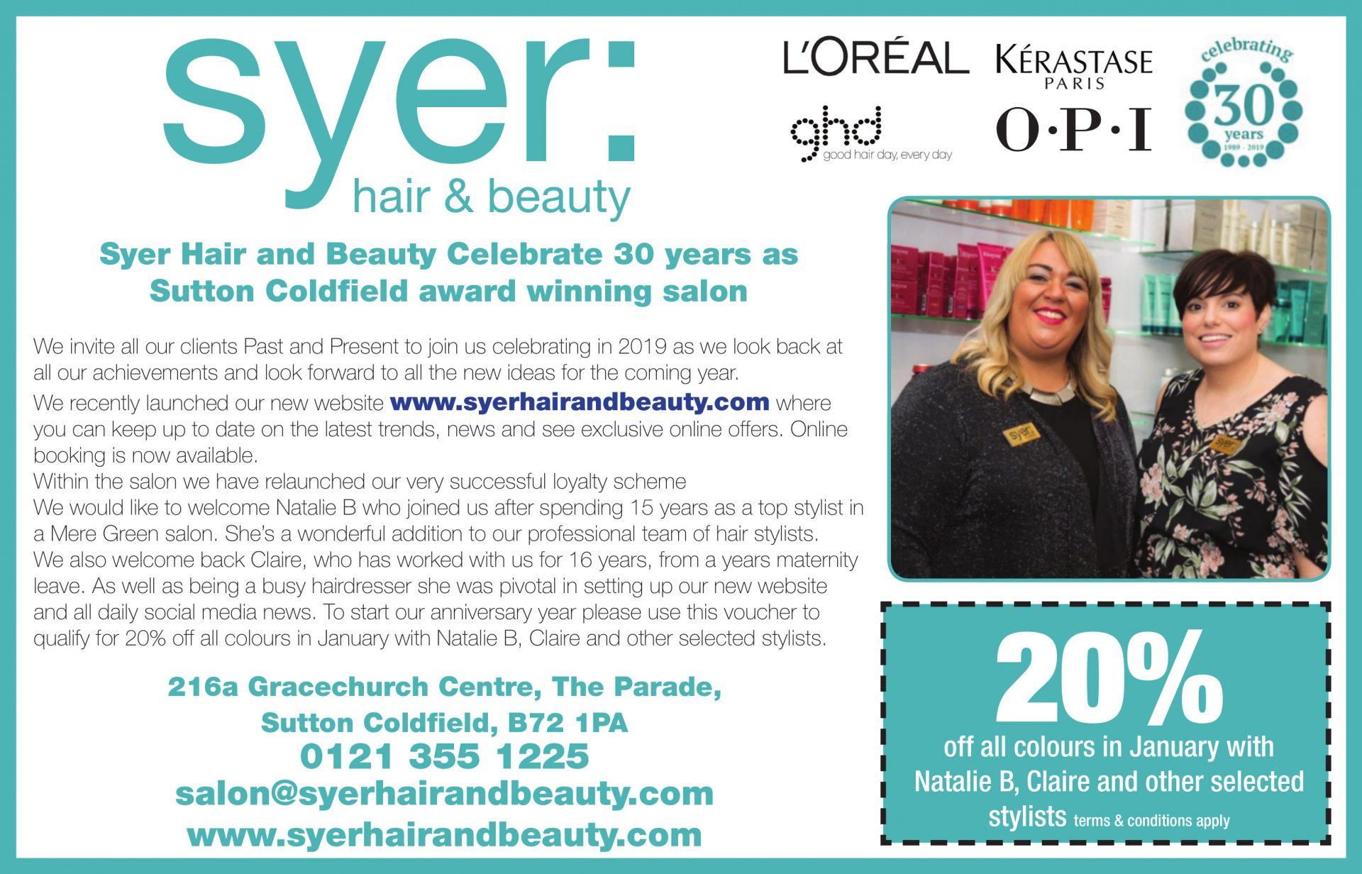 voucher, Syer Hair & Beauty, Sutton Coldfield
